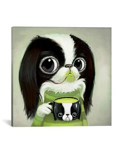 Japanese Chins Sips Matcha Latte (Giclee Canvas) by iCanvas at Gilt