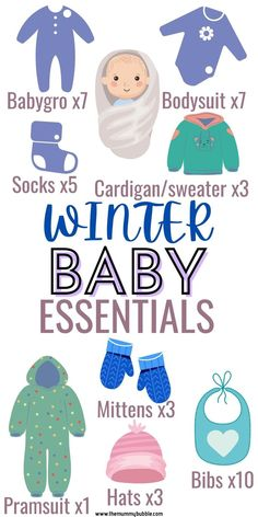 A guide to what to buy for a winter baby. Click the pin for a complete breakdown of winter baby essentials including clothes and what to get for the nursery. Winter Newborn, Baby Winter, Newborn Baby Tips, Newborn Essentials, New Mums, Baby Hacks, Winter Sweaters, Mittens, Bodysuit