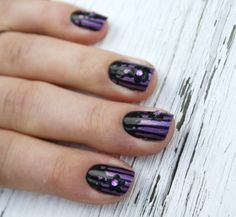 purple and black with rhinestone rose lace stripe gothic lolita nail art