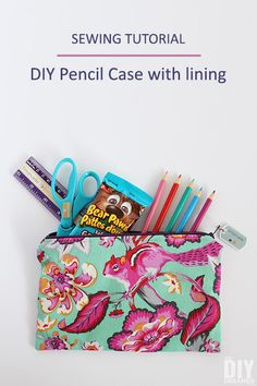 DIY Pencil Case with lining sewing tutorial. Great sewing project for back to sc. DIY Pencil Case with lining sewing tutorial. Great sewing project for back to school. Dress Sewing Tutorials, Craft Tutorials, Sewing Hacks, Sewing Crafts, Sewing Ideas, Craft Ideas, Kid Crafts, Fabric Crafts, Diy Ideas