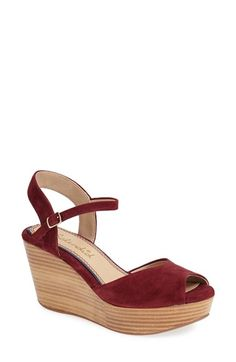 Splendid 'Ganes' Sandal (Women) at Nordstrom.com. A stacked, woodgrain platform and wedge give a fun '70s vibe to a quarter-strap sandal in lush kidskin suede.