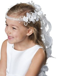 MGT-Shop Mädchen Kommunionshaarschmuck Haargesteck Haarschmuck Rundkranz Haarkranz K43 (weiß) http://amzn.to/2rxb0rZ