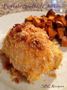 :-)  Buffalo Stuffed Chicken :-)  ⓈⒽⒶⓇⒺ :: ⓉⒶⒼ :: ⓁⒾⓀⒺ  INGREDIENTS:  4 boneless skinless chicken breasts 2 cups panko bread crumbs 2 eggs 2 T melted butter 2 T hot sauce (Frank's Redhot) 4 ounces reduced fat cream cheese 4 T blue cheese 4 pieces crispy bacon, crumbled  INSTRUCTIONS:  Preheat oven to 375  Put bread crumbs in a shallow dish. In a second shallow dish, whisk eggs for egg wash. Combine melted butter and hot sauce and drizzle over bread crumbs. Toss bread crumbs until all are ...