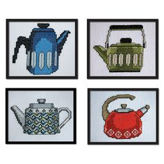 SALE Set of 4 Vintage Teapots Original Counted by tinymodernist, $13.00