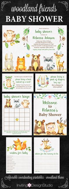 Woodland Animals Baby Shower Invitation and Matching Printables