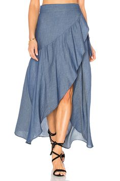 Shop for Stillwater Wrap Sum Den Skirt in Indigo at REVOLVE. Free day shipping and returns, 30 day price match guarantee. Modest Fashion, Diy Fashion, Fashion Dresses, Skirt Outfits, Dress Skirt, Cool Outfits, Sexy Skirt, Dress Shoes, Shoes Heels