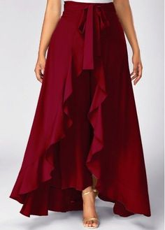 Burgundy High Waist Slimming Pants With Skirt Zipper Side Tie Waist Wine Red Overlay Pants Trousers Women, Pants For Women, Women Shorts, Mode Batik, Mode Hijab, Palazzo Pants, Flare Skirt, Jumpsuits For Women, Party Wear