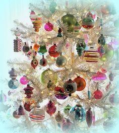 vintage white christmas tree with balls