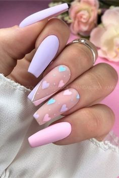 45 Pretty Summer Matte Nails Art Designs You Must Try In 2020 - Nail trends and colors change with the seasons.Fashionable girls like matte nails which look very e - Summer Acrylic Nails, Best Acrylic Nails, Pastel Nails, Spring Nails, Summer Nails, Pink Nail Art, Aycrlic Nails, Swag Nails, Hair And Nails