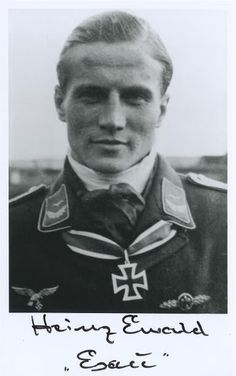 """Leutnant Heinz """"Esau"""" Ewald (1 September 1922 – 14 March 2002)  figher ace credited with credited with 84 victories in 395 combat missions. Gerd Barkhorn's wingman. Knight's Cross of the Iron Cross on 20 April 1945 as Leutnant and pilot in the 5./Jagdgeschwader 52"""