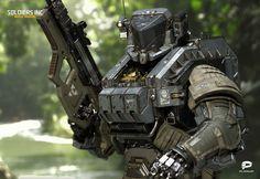 A collection of cyberpunk, art, bikes, cars, noir and other stuff I like Futuristic Armour, Futuristic Art, Robot Concept Art, Armor Concept, Combat Armor, Combat Suit, Military Armor, Tactical Armor, Arte Robot