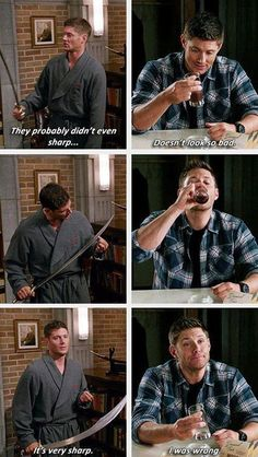 Dean Winchester, Master of Good Ideas.-- Yet more proof that I am Dean Winchester. Castiel, Sammy Supernatural, Supernatural Series, Supernatural Quotes, Spn Memes, Supernatural Drawings, Supernatural Bloopers, Supernatural Pictures, Dean Winchester