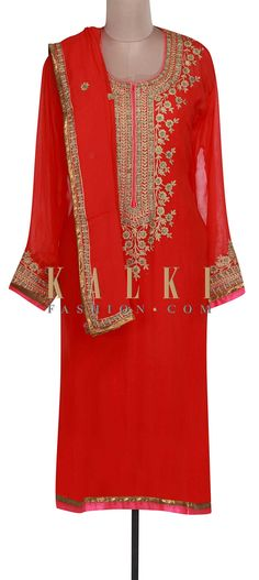 Buy Online from the link below. We ship worldwide (Free Shipping over US$100). Product SKU - 301032. Product Link - http://www.kalkifashion.com/red-semi-stitched-suit-adore-in-zari-embroidery-only-on-kalki.html