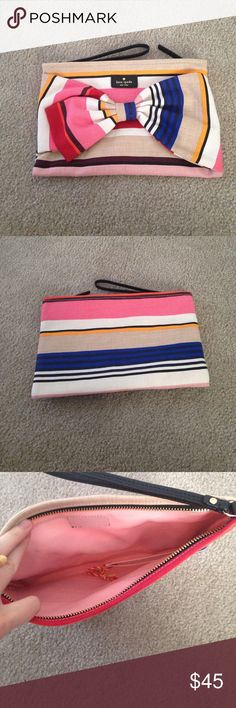 """Kate spade NWT On Purpose Wristlet, Berber Stripe This is a gorgeous Wristlet new with original tags from Kate spade! Measures 10.5"""" w by 7"""" h.  Never used! No trades please, reasonable offers accepted kate spade Bags Clutches & Wristlets"""