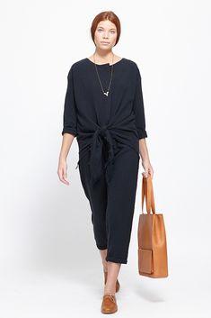 Black Crane Cotton Painter JumpSuit (Black)