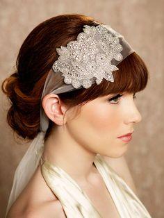 READY to SHIP, Crystal Headband, Veil Head Wrap, Art Deco, Vintage Inspired Tulle Veil, Roaring 20s Wedding Style - ELOISE