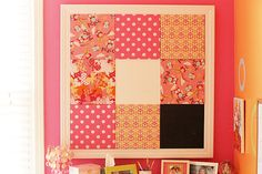 Pin board using tiles with different fabric plus chalkboard