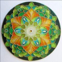 """Mandala """"S vůní divoké Máty"""" -autorská mandala malovaná na skle * Glass Hand Painted Mandala"""