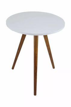 mesa redonda pé palito lateral madeira mdf 15mm branco
