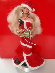 Crochet Barbie Christmas Dress