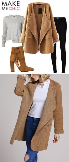 Khaki Lapel Long Sleeve Loose Sweater Coat