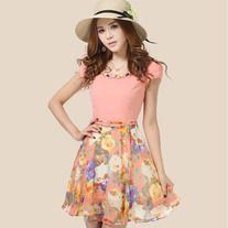 summer floral dresses with sleeves 91855 P 1369390376298 ,dress,clothing,outfits Floral Dresses With Sleeves, Pink Chiffon Dress, Short Sleeve Dresses, Chiffon Skirt, Short Sleeves, Dress Link, Dress P, Casual Summer Dresses, Summer Dresses For Women