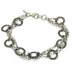Bracelet made of 3 silver chains combined with small flat hoops that have a ruthenium plate. Bracelet Making, Barcelona, Chain, Bracelets, Silver, Jewelry, Sterling Silver, Silver Bracelets, Necklaces