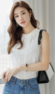 Korean Women`s Fashion Shopping Mall, Styleonme. Korean Model, Korean Style, Look Formal, Beautiful Asian Girls, Beautiful Women, Cotton Lace, Asian Fashion, Asian Woman, Asian Beauty