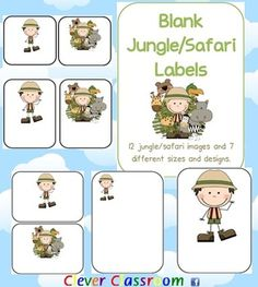 Jungle/Safari Themed Blank Classroom Labels - PDF file48 pages, designed by Clever Classroom.These basic, blank jungle/safari templates can...