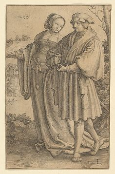 The Promenade Lucas van Leyden (Netherlandish, Leiden ca. 1494–1533 Leiden)  Date:     1520 Medium:     Engraving Dimensions:     sheet: 4 9/16 x 2 7/8 in. (11.6 x 7.3 cm) Classification:     Prints