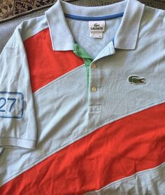 Men Lacoste Big Croc Blue with Red Stripe 7 Polo Shirt s S | eBay