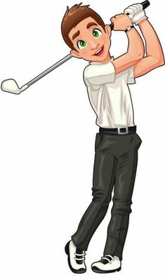 Golf Clip Art, Golf Drawing, Clipart Boy, Golf Cards, Dress Up Dolls, Boys Playing, Exercise For Kids, Cartoon Pics, Digi Stamps