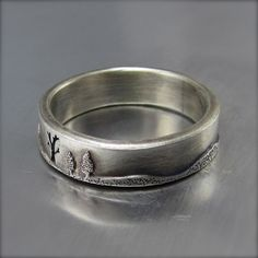 5mm Forest Wedding Band Sterling Silver  By Beth by BethMillner
