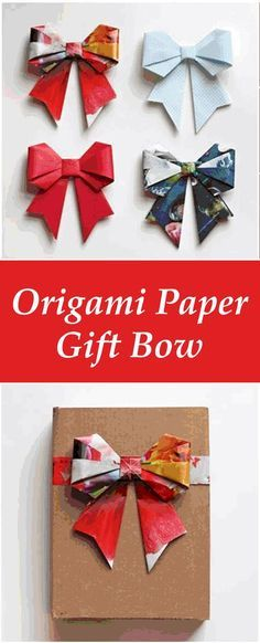 How to DIY Origami Paper Gift Bow - great for decorating presents or your home. Just use any square paper - origami paper, newspaper, magazines, or wrapping paper paper crafts Origami Design, Diy Origami, Origami Ribbon, Origami Gifts, Origami Rose, Paper Crafts Origami, Paper Crafting, Origami Envelope, Christmas Gift Wrapping
