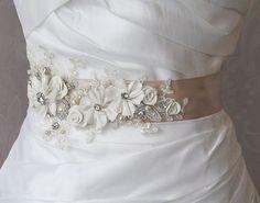 Marco marfil y Champagne, marco nupcial, boda correa, Rhinestone y marco flores perla encaje - GEORGETTE