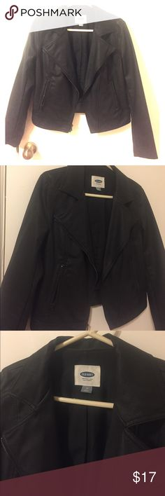 Black faux leather Moto Jacket from Old Navy!! Black, faux leather Moto jacket from Old Navy; very, very gently loved!! This jacket is so cool, unfortunately it's way too small for me now  zipper pockets in the front are functional! Waist is a little on the short side, but that's what makes it so cute!! All reasonable offers considered! Old Navy Jackets & Coats