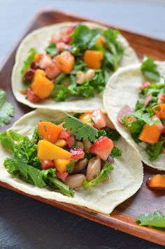 Kale and White Bean Tacos with Chipotle Fruit Salsa | Coffee and Quinoa
