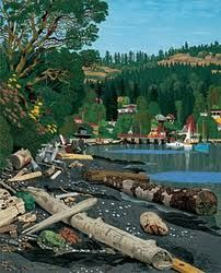 Hughes, a quintessential BC artist. This painting is of Maple Bay, near Duncan on the east side of Vancouver Island. He has captured the essence of the BC Coast. Small Paintings, Paintings I Love, Landscape Paintings, Oil Paintings, Landscapes, Painted Books, Japanese Prints, Outdoor Art, Canadian Artists