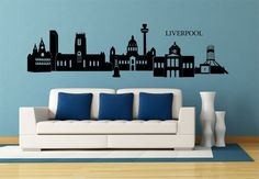 Liverpool Wall Sticker - With all the New York & London decor doing the rounds, it's nice to see something you can relate to. Liverpool Skyline, Liverpool Home, Wall Stickers, Wall Decals, London Decor, Skyline Silhouette, Landscape Background, Building Art, First Apartment