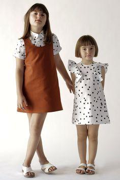 MOTORETA SS16   Palma dress, brown & Cordoba shirt, polka dot white & Manuela dress, polka dot white