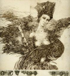 Adgur Dzari. Reminiscence – III #etching size: 23x23 1985 year