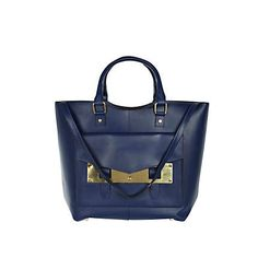 navy leather metal plate tote