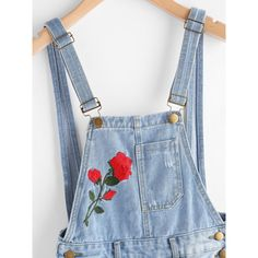 Rose Embroidered Destroyed Denim Dungaree Shorts (675 RUB) ❤ liked on Polyvore featuring shorts, denim overalls, distressed denim overalls, denim overalls shorts, denim bib overalls and blue overalls