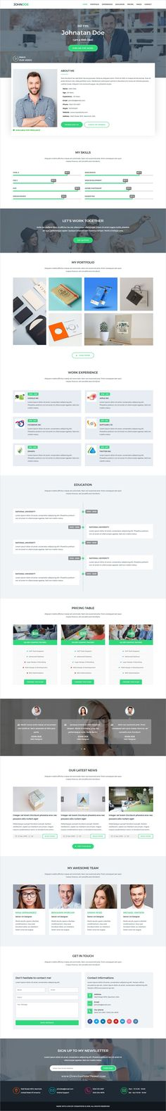 Resume, Portfolio, CV, and vCard template downloads for personal - wordpress resume template