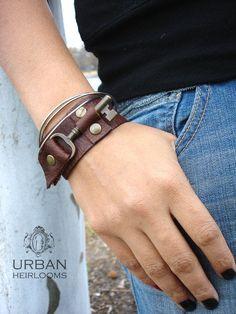 Classic Vintage Marron Homme Skinny En Cuir Bracelet Bracelet Manchette Main Wrap