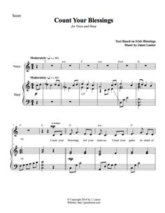 Count Your Blessings for Voice and Harp Irish Blessing, Harp, Counting, Blessings, The Voice, Sheet Music, Blessed, Music Sheets