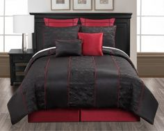 Black Red Crimson Corded Embroidered King Queen Size 8 Pc Comforter Bed Set