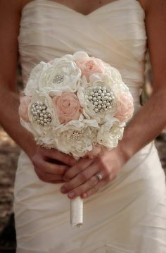 Fabric Wedding Bouquet Bridal Bouquet by ElegantDetailsStudio