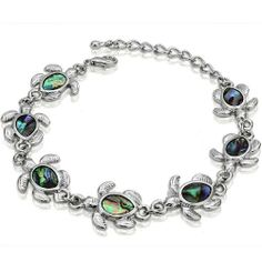 Genuine Shell (Abalone) Bracelet -Turtle Inspired Design Leelo Jewelries. $16.00. Product code: AB0026-780105. Genuine Shell Bracelet. Turtle Charm. Rhodium Plated. Abalone Shell