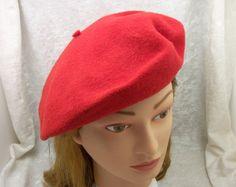 Vintage RED Betmar Wool Beret Hat